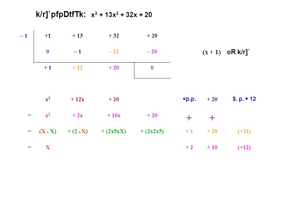 + k/r]`pfpDtfTk: x3 + 13x2 + 32x + 20 (x + 1) oR k/r]` – 1 +1 + 13